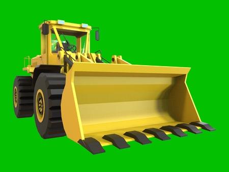 quarry: Excavator on a green uniform background. Backhoe loader. 3d illustration Stock Photo
