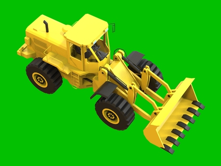 Excavator on a green uniform background. Backhoe loader. 3d illustration Stock Photo