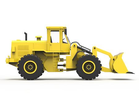 quarry: Excavator on a white uniform background. Backhoe loader. 3d illustration Stock Photo