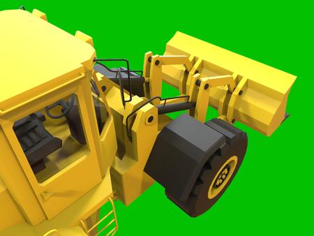 backhoe loader: Excavator on a green uniform background. Backhoe loader. 3d illustration Stock Photo