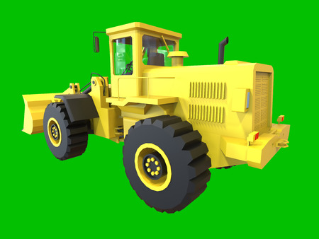 earth mover: Excavator on a green uniform background. Backhoe loader. 3d illustration Stock Photo