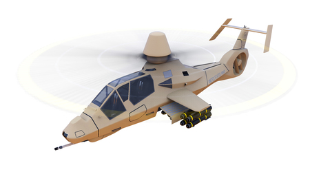 us air force: Modern army helicopter in flight with a full complement of weapons on a white background. 3d illustration Stock Photo
