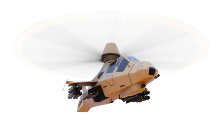 Modern army helicopter in flight with a full complement of weapons on a white background. 3d illustration Stock Photo