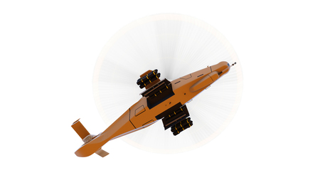 complement: Modern army helicopter in flight with a full complement of weapons on a white background. 3d illustration Stock Photo