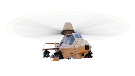 chinook: Modern army helicopter in flight with a full complement of weapons on a white background. 3d illustration Stock Photo