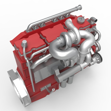 diesel engine: Large diesel engine isolated on a white background. 3d illustration.