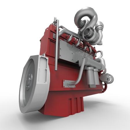 diesel: Large diesel engine isolated on a white background. 3d illustration.
