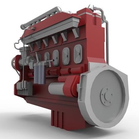 Grote dieselmotor die op een witte achtergrond. 3D-afbeelding. Stockfoto