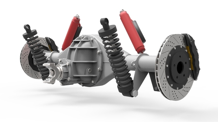 Rear axle assembly with suspension and brakes. Red dampers. 3d illustration