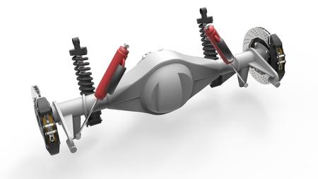 frenos: conjunto del eje trasero con suspensi�n y frenos. amortiguadores rojos. 3d ilustraci�n