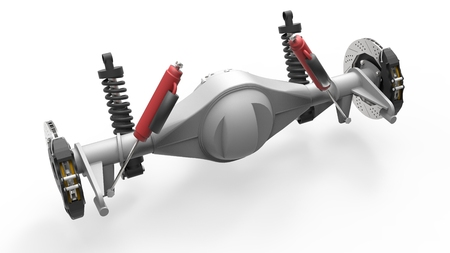 coil car: Rear axle assembly with suspension and brakes. Red dampers. 3d illustration