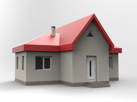 small roof: A small house with red roof, and black walls. 3d illustration
