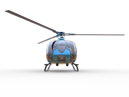 Blue civilian helicopter on a white uniform background. 3d illustration.