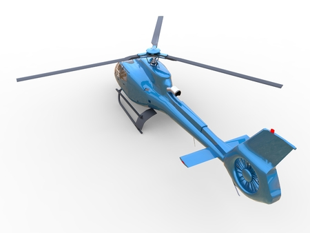 white uniform: Blue civilian helicopter on a white uniform background. 3d illustration.