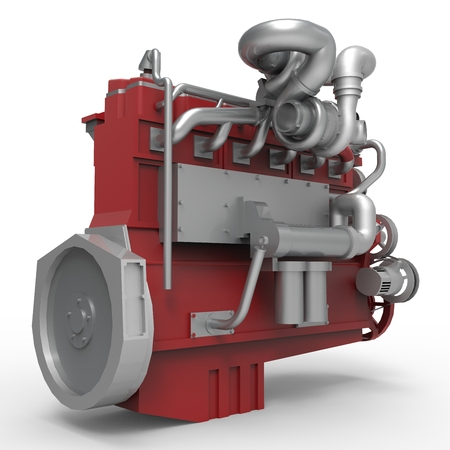 Large diesel engine isolated on a white background. Stock Photo