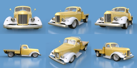 restored: Set old restored pickup. Pick-up in the style of hot rod. 3d illustration. Golden-white car on a blue background Stock Photo