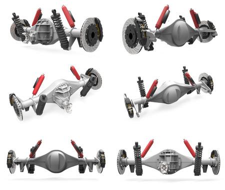 Set Hinterachse Montage mit Fahrwerk und Bremsen. Rote Dämpfer. 3D-Darstellung Standard-Bild - 65120043