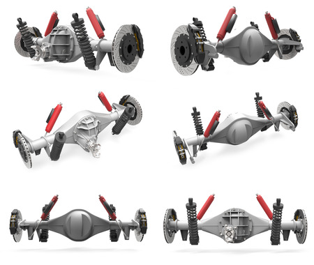 Set rear axle assembly with suspension and brakes. Red dampers. 3d illustration Stock Photo