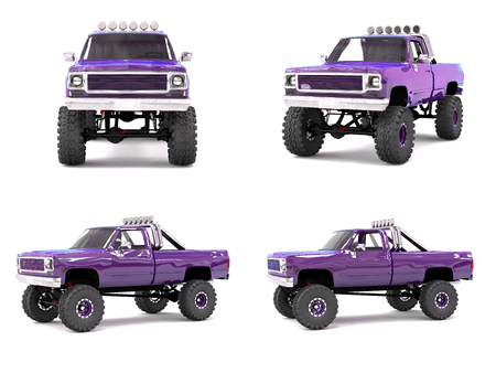 offroad: large pickup truck off-road. Full - training. Highly raised suspension. Huge wheels with spikes for rocks and mud. 3d illustration