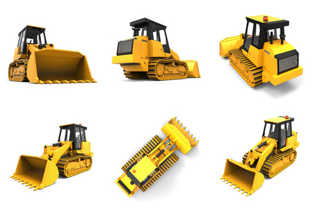 earth mover: Set excavator on a white uniform background. Backhoe loader. 3d illustration