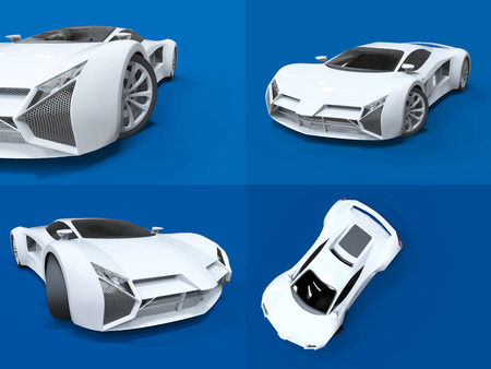 highspeed: Set conceptual high-speed white sports car. Blue uniform background. Glare and softer shadows. 3d rendering Stock Photo