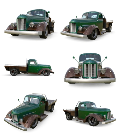 restored: Set old restored pickup. Pick-up in the style of hot rod. 3d illustration. Green car on a white background