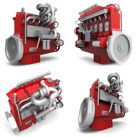 Set large diesel engine isolated on a white background. 3d illustration.