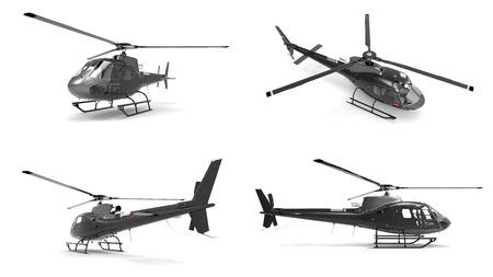 white uniform: Set black civilian helicopter on a white uniform background. 3d illustration