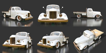 restored: Set old restored pickup. Pick-up in the style of hot rod. 3d illustration. White car on a black background