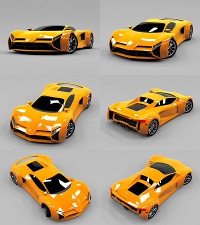 highspeed: Set conceptual high-speed orange sports car. Gray uniform background. Glare and softer shadows. 3d rendering