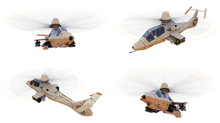Set modern army helicopter in flight with a full complement of weapons on a white background. 3d illustration Stock Photo