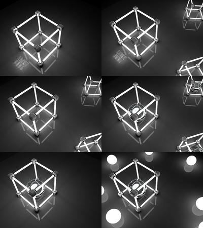 tubos fluorescentes: Establecer brillantes cubos de tubos fluorescentes. Composición abstracta de las instalaciones de procesamiento geométrico. 3d ilustración Foto de archivo
