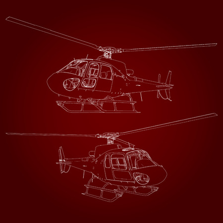 Linear illustration. Helicopter on a red background