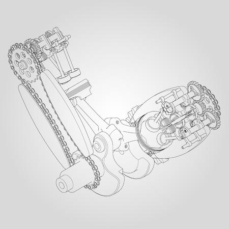 crankshaft: Engine components in disassembled state. Vector illustration of lines
