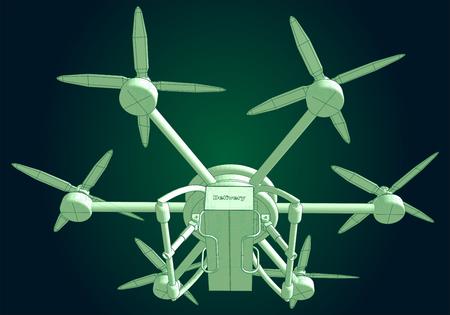 Drone delivers the goods. Volumetric vector illustration Illustration