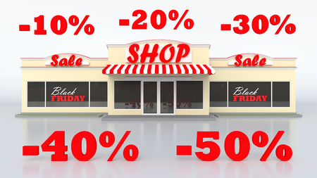 40: A typical American grocery store. The sale of goods. Sign black Friday. White isolated background. Large letters discounts of 10, 20, 30, 40 and 50 percent. 3d illustration