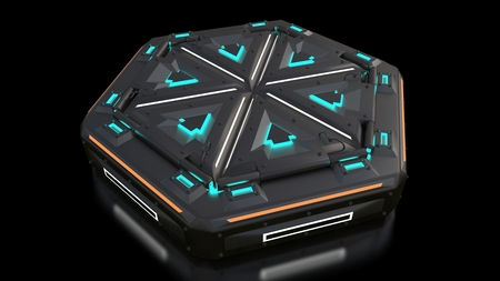 Complex glowing container object from the future. Many parts in complicated interactions. Illustration of the object of extraterrestrial origin. Fiction and space the future of humanity. 3d illustration