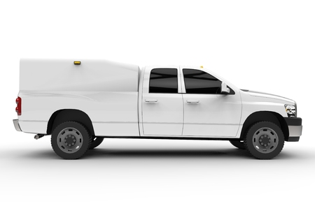 White commercial vehicle delivery truck with a double cab and a van. Machine without insignia with a clean empty body to accommodate your logos and labels.