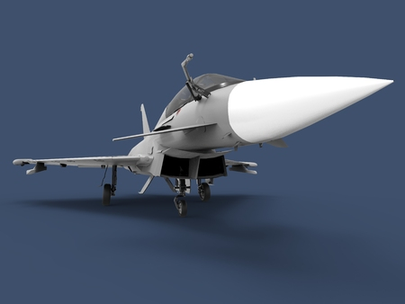 fighter plane: European Combat Fighter. Plane on a blue background. 3d illustration.