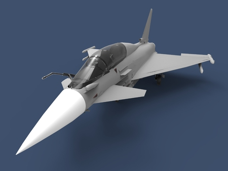 the air attack: European Combat Fighter. Plane on a blue background. 3d illustration.