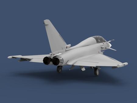 European Combat Fighter. Plane on a blue background. 3d illustration.