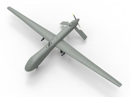 軍の無人機。白の背景上のドローンします。完全な弾薬。飛行兵器。3 d イラスト。