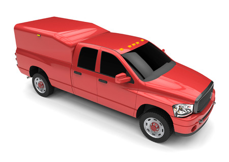 Red commercial vehicle delivery truck with a double cab and a van. Machine without insignia with a clean empty body to accommodate your logos and labels. Machine the fire service. 3d rendering. Stock Photo