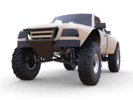 struts: Most prepared sports race truck for the desert terrain. Front view
