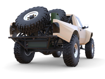 struts: Most prepared sports race truck for the desert terrain. Rear view. Stock Photo