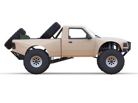 struts: Most prepared sports race truck for the desert terrain. Side view. Stock Photo