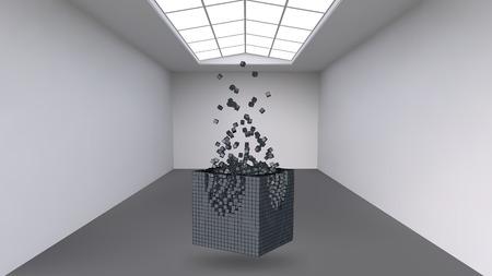 Appeso il cubo da una moltitudine di piccoli poligoni nella grande sala vuota. Lo spazio espositivo con forme cubiche astratte. Il cubo al momento dell'esplosione è suddiviso in particelle fini