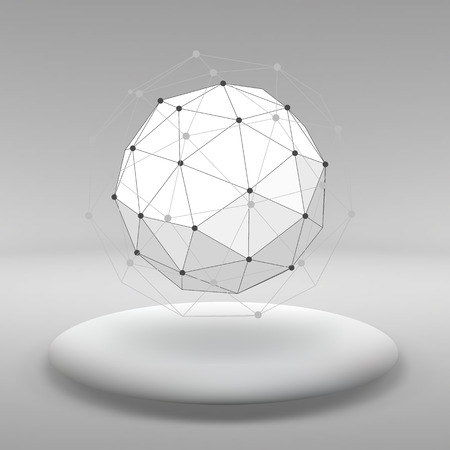 Hanging ball made of lots of smaller polygons in the large empty room. The exhibition space is the abstract object with a spherical shape