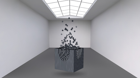 fine particles: Hanging the cube from a multitude of small polygons in the large empty room. Exhibition space with abstract cubic shapes. The cube at the moment of explosion is divided into fine particles