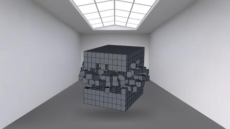 Colgar el cubo de una multitud de pequeños polígonos en la gran sala vacía. La superficie de exposición con formas cúbicas abstractas. El cubo en el momento de la explosión se divide en partículas finas Ilustración de vector